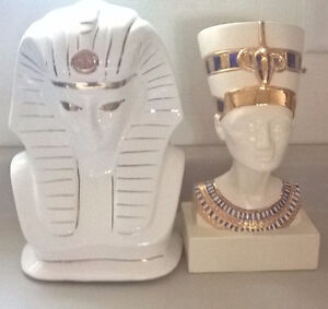 Ancient Egyptian King Tut & Queen Nefertiti Bust Sculpture Set