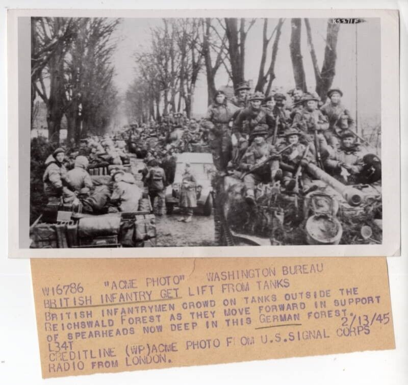 1945 British Soldiers Riding Sherman Firefly Tank Reichswald Forest Radiophoto