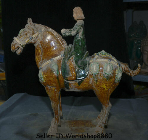 "16.8"" China Antique Tang San Cai Pottery Porcelain Woman Ride War Horse Statue"
