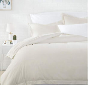 King size duvet cover and shams cream\charcoal\brown all New