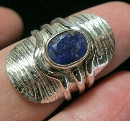 Beautiful Jewellery STERLING SILVER Real SAPPHIRE Gem Stone Modernist RING L