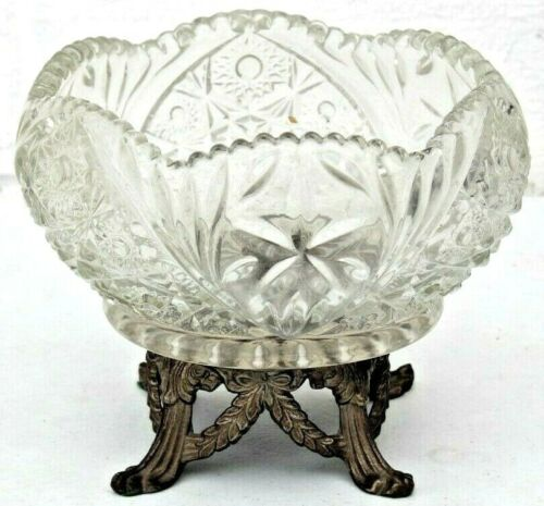 Vintage Cut Crystal Compote Candy Dish Brass Bronze Metal Footed Pedestal