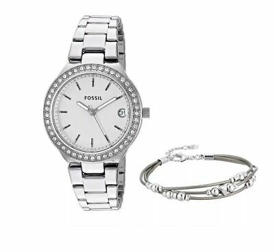 Fossil Women's Analogue Quartz Watch with Stainless Steel Strap ES4336SET 3018
