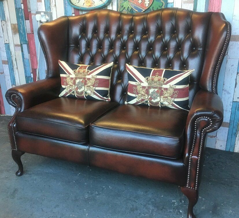 Stunning Immaculate Chesterfield 2 Seater Queen Anne Wing ...