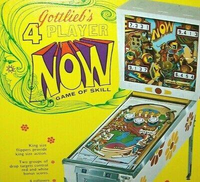 Now Pinball FLYER Original 1971 Gottlieb Game Mod Psychedelic Groovy Pop Art