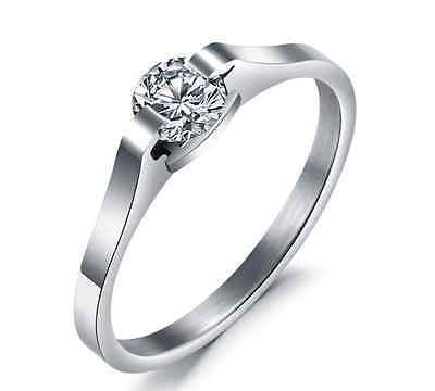 Stainless Steel 316L Cubic Zirconia Solitaire Engagement Ring Wedding Band