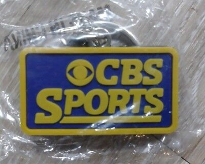 CBS Sports Blue Yellow Keychain Rubber Black Back