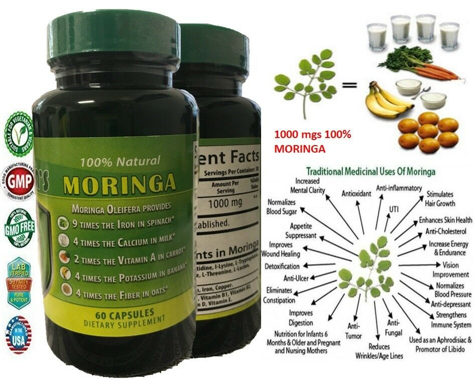 120 capsules MORINGA OLEIFERA LEAF powder 2000 -PHIL-  FREE SHIP pure moringa 7