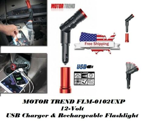 MOTOR TREND FLM-0102UXP, 12-Volt USB Charger & Rechargeable Flashlight - FREE SH
