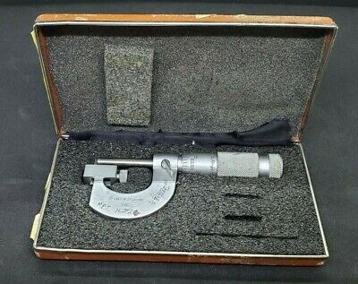 Vintage Brown And Sharpe 0-1 .0001 Anvil Micrometer W Box 176