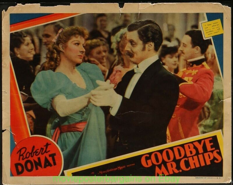 GOODBYE MR. CHIPS Lobby Card 11x14 ROBERT DONAT GREER GARSON Dancing Card 1939