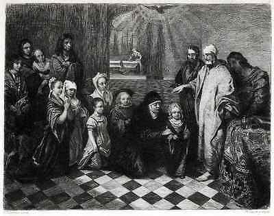 B.Fabritius Original Radierung  PETRUS & CORNELIUS 1888 rad.UNGER