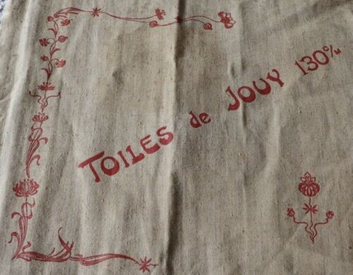 "Rare Toile de Jouy Original ""Avis"" Antique c1900 Advertising Linen Toile~16""X19"""
