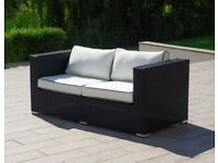 Rattan Direct Ascot 2 Seater Garden Sofa in Black and Vanilla