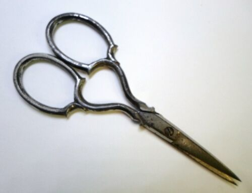 """Antique STEEL EMBROIDERY SCISSORS Silver Plated by Western Cutlery Co 3.75"""" Long"""