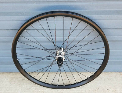 "26"" black rear mountain bike wheel 36h silver centerlock disc hub"