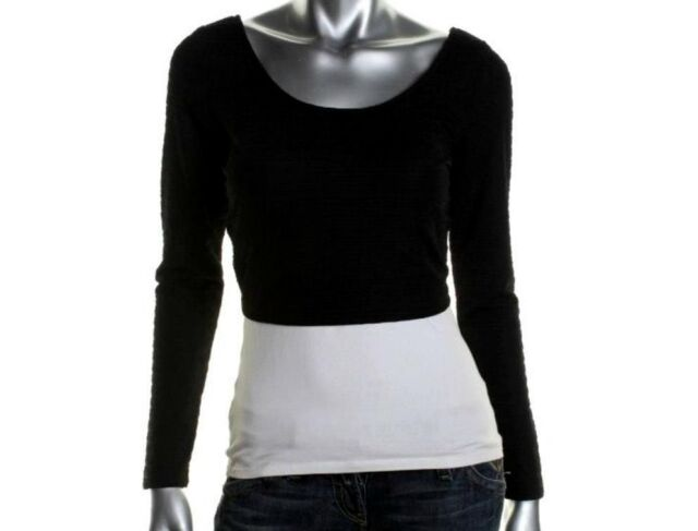 NWT MATERIAL GIRL Black Textured Scoop Neck Long Sleeve Crop Top Size: L