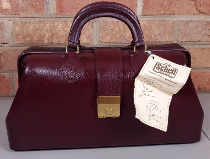 Vintage Schell Leather Doctor Medical Bag Amiet Combo Lock Burgundy NEW #71424