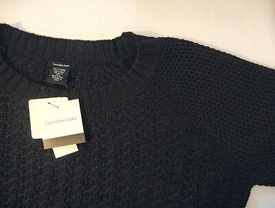 Calvin Klein Jeans Women Sweaters - NEW Calvin Klein Jeans Women's Textured Knit Crew Neck Sweater Black S