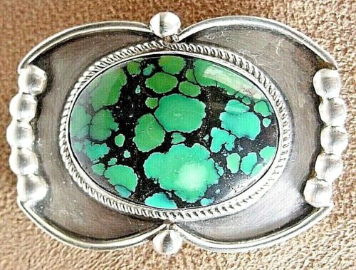 BIG SIGNED VINTAGE OLD PAWN NAVAJO STERLING SILVER FINE WEB TURQUOISE PIN BROOCH