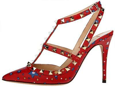 NEW VALENTINO GARAVANI ROCKSTUD ENCHANTED WONDERLAND T-STRAP HEELS SHOES 37