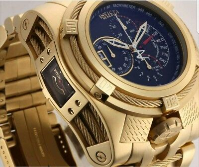 THE GOLD BEAST Invicta Reserve Bolt Zeus Tria THREE Swiss Movements Plated Watch