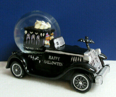 HAPPY HALLOWEEN Witch Pumpkin Hearse Black Car Coffin Snowglobe Music Box - Happy Halloween Black Witch