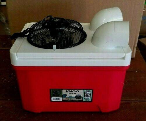 """Onos Small 9qt Golf Cart Ice Swamp Cooler Portable Air Conditioner 6"""" USB Fan"""