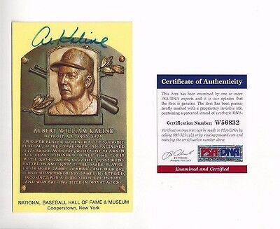 Al Kaline Detroit Tigers HOFer Baseball Autographed Plaque Postcard PSA COA