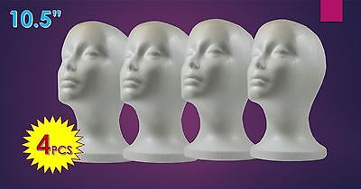 "WIG STYROFOAM HEAD FOAM MANNEQUIN DISPLAY 10.5"" (4PCS)"