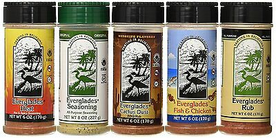 Everglades Seasoning Sampler Rub Cactus Dust Heat Fish Chicken 8oz  6oz 5 PACK