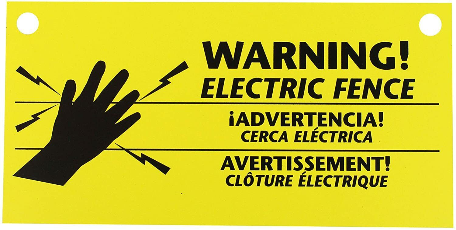 Zareba 680828 WS3 3-Pack Electric Fence Warning Signs