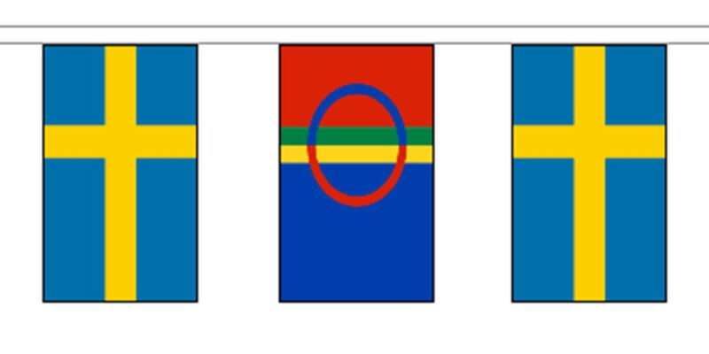 Scandanavian Sami People & Sweden Polyester Flag Bunting - 5m with 14 Flags