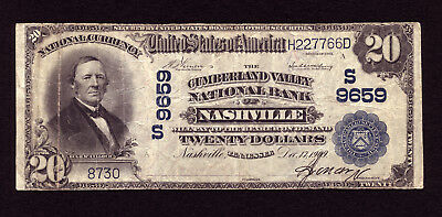 20 1902 Cumberland Valley National Bank Nashville Tennessee Ch 9659 Rare Bank