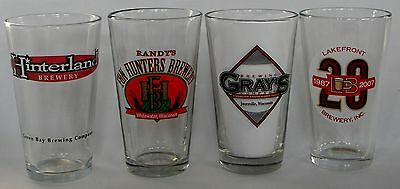 Wisconsin Brewery beer pint glasses, 4 different
