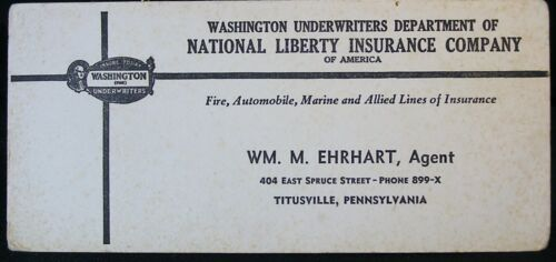 Vtg postcard Washington Underwriters Dept of National Liberty Insurance Co