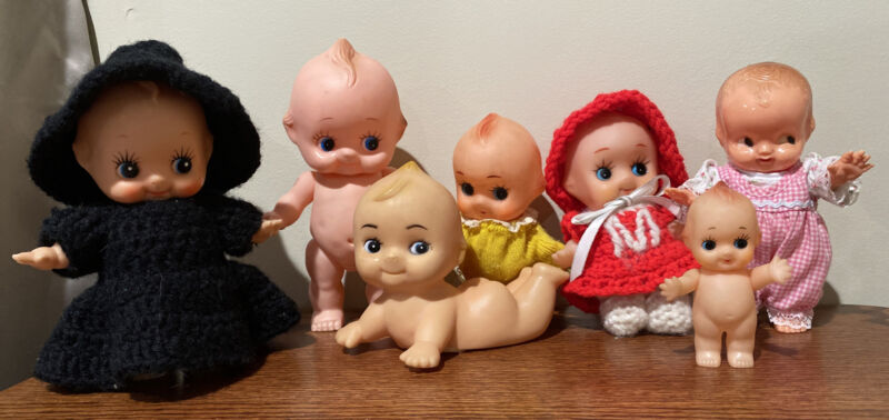 Kewpie Dolls Vinyl LOT OF 6 Vinyl, 1 Plastic