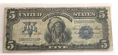 Note Range - U.S. $5.00 1899-- SILVER CERTIFICATE INDIAN CHIEF NOTE- NICE MID RANGE NOTE