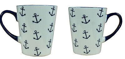 2 x Becher Anker Inhalt 300ml Kaffeebecher Tasse Tee Kaffee maritim