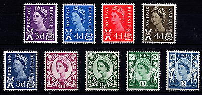 GB 1958-70 Scotland Pre-Decimal Definitive Basic Set of 9 MNH Unmounted Mint