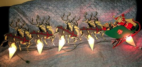 Vtg Hard Plastic Santa & Reindeer Lawn Ornament Lighted Mid Century Christmas