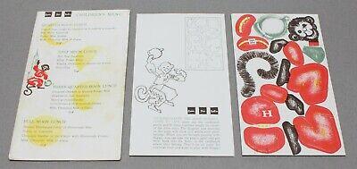 Carson Pirie Scott & Co Vintage Children's Menu & Moon Monkey Toy