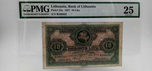 Lithuania Litauen 1927 10 LITU PMG 25