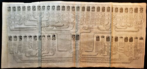 NEW GENEALOGICAL MAP OF THE ROYAL FAMILY OF FRANCE Engraving by Chatelain - 1720