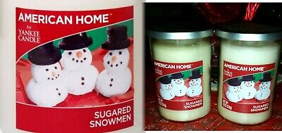2 Yankee Candle American Home Sugared Snowmen Holiday 2-Wick Large Jar-19 oz-Lot
