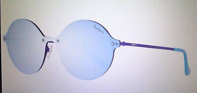 Runde, blaue Sonnenbrille PEPE JEANS große runde Gläser verspiegelt stylish Gr.M