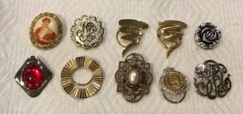 Vintage Lot of 10 Scarf Clips Gold Silver Tone Mixed Materials C511