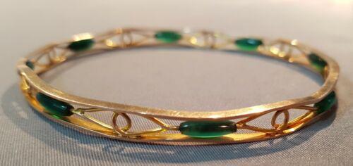 9ct Gold & Jadeite Slave Bangle Bracelet. Art Deco.  Ref:xaeod%