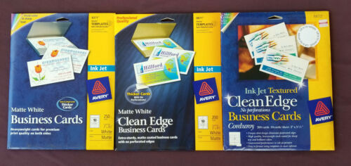 650 Avery 8371 8872 Matte White Business Cards Clean Edge  Ink Jet  3 Packages