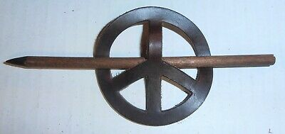 Vintage Genuine Leather Peace Sign Hair Barrette (3 Styles To Choose From)